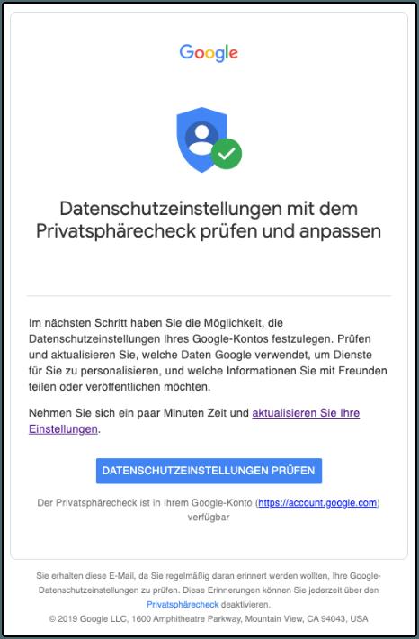 2019-11-18 Google E-Mail Datenschutzeinstellungen Ihres Google-Kontos pruefen