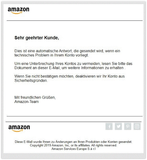 2019-11-26 Amazon Fake-Mail mit Virus im Anhang