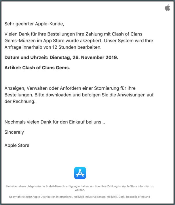 2019-11-26 Apple Rechnung Bestellung Fake Clash of Clans Gems