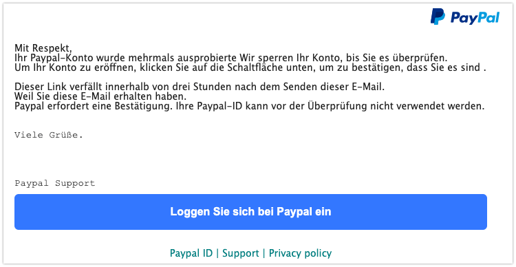 2019-11-26 PayPal Spam-Mail Fake Betrug