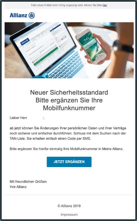 2019-11-27 Allianz E-Mail Bitte ergaenzen Sie Ihre Mobilfunknummer