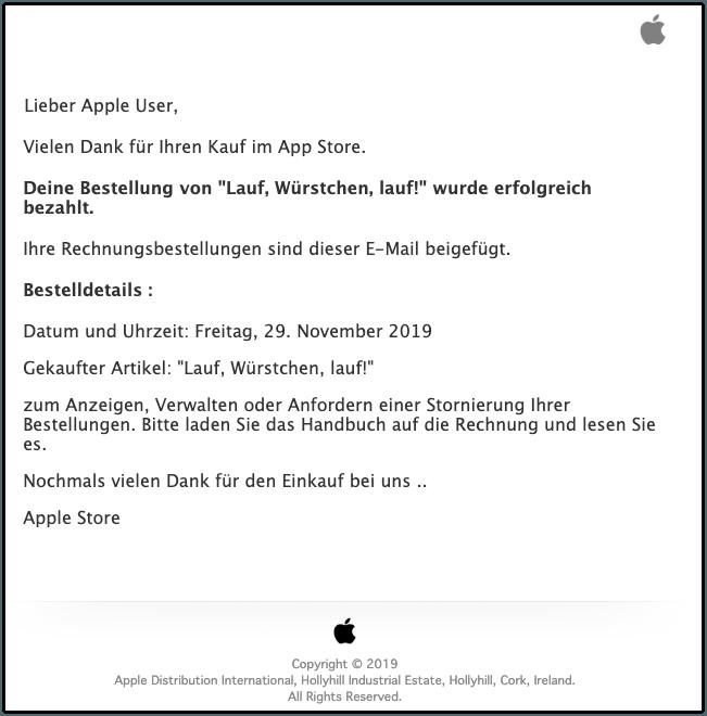 2019-11-29 Apple Rechnung Lauf, Wurst, lauf Kauf wurde bestaetigt