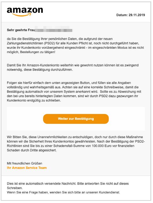 2019-11-30 Amazon Spam-Mail Ihr Amazon-Konto wurde voruebergehend eingeschraenkt