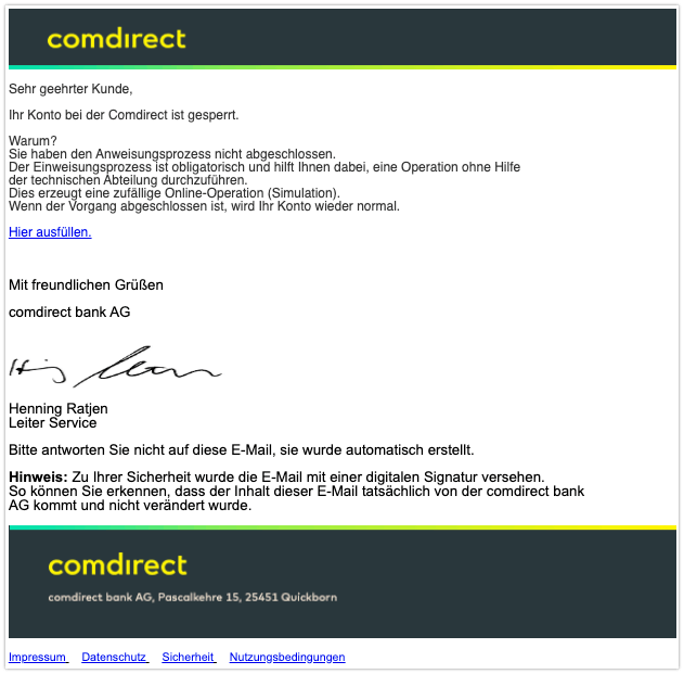 2019-12-03 Comdirect Spam-Mail Konto gesperrt