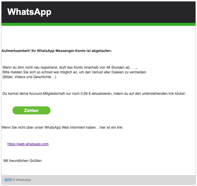 2019-12-06 WhatsApp Spam-Mail Abonnement erneuern