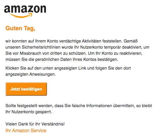 2019-12-08 Amazon Spam-Mail Ihr Nutzerkonto wurde aus Sicherheitsgruenden deaktiviert