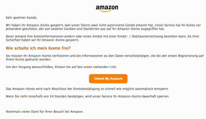 2019-12-08 Amazon Spam-Mail Message