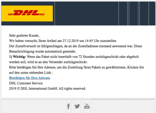 2019-12-29 DHL Spam-Mail Abofalle Adress- und Zustellfehler