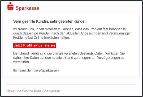 Sparkasse Spam-Mail News und Service - Ihr Profil Update