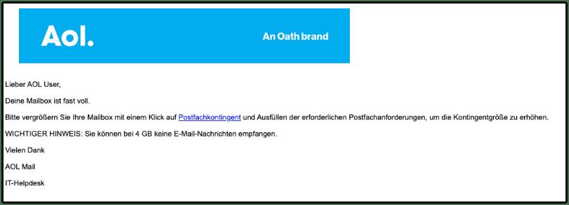 2019-12-04 AOL Phishing-Mail Mail-Speicherlimit aktualisieren