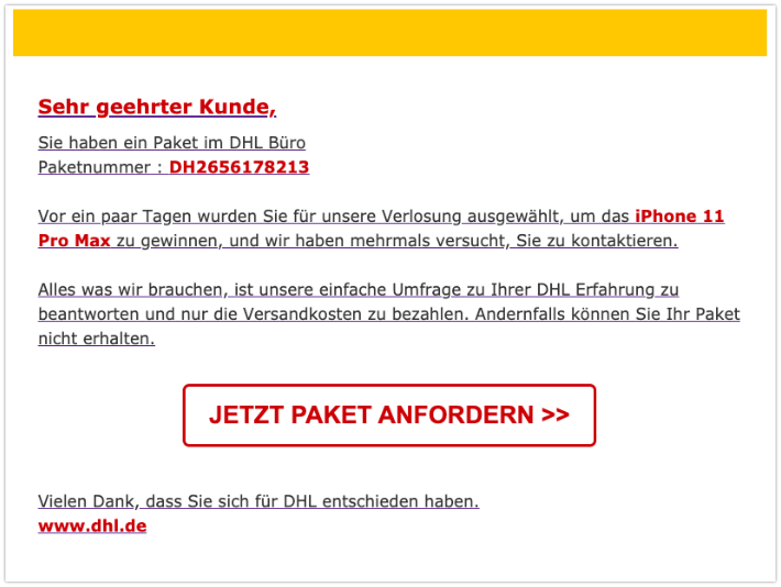 2019-12-09 Deutsche Post DHL Spam-Mail Ihre Sendung ist abholbereit