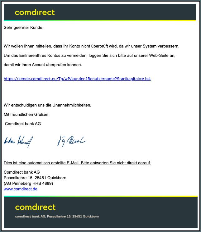 2019-12-10 Comdirect Spam-Mail PostBox- Sie haben neue comdirect News