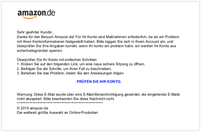 E Mail Amazon Sicherheitscenter
