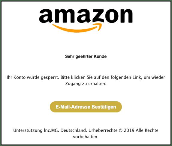 2019-12-12 Amazon Spam-Mail Ihr Konto wurde gesperrt