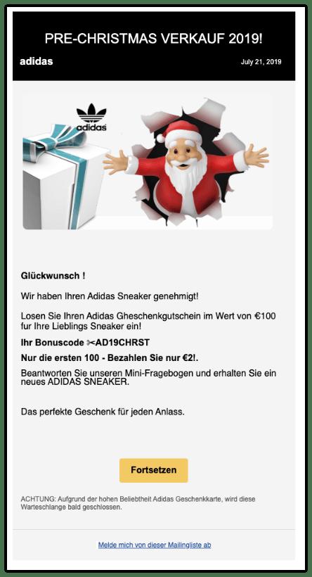 2019-12-13 Adidas E-Mail Gutschein Fake PRE-CHRISTMAS VERKAUF
