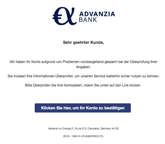 2019-12-14 Advanzia-Bank Spam-Mail Wir haben Ihr Konto aufgrund von Problemen