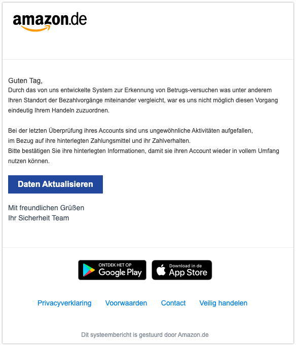 2019-12-18 Amazon Fake-Mail Spam Information zu Ihrem Kundenkonto