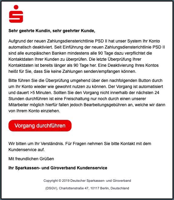 2019-12-21 Sparkasse Spam-Mail Überprüfung Ihrer Kontodaten