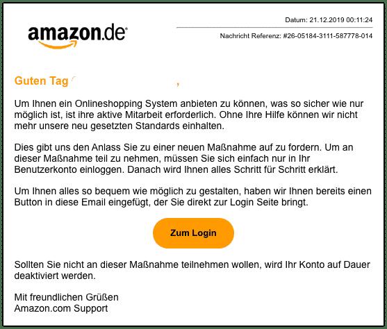 2019-12-22 Amazon Spam-Mail Aktuelle Kundenmitteilung