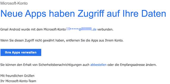 2019-12-25 Neue Apps wurden mit Ihrem Microsoft-Konto verbunden