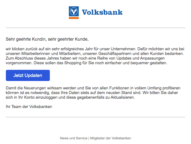 2019-12-29 Volksbank Spam-Mail Ihre VVB-Community - News und Updates