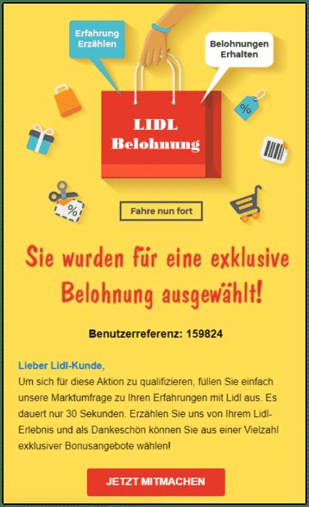 2020-01-13 Lidl Spam-Mail Sie wurden für eine exklusive Belohnung ausgewaehlt