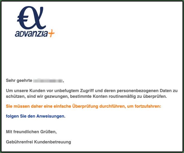 2020-01-14 Advanzia Bank Spam-Mail Bestaetigung Ihrer neuen persoenlichen Daten