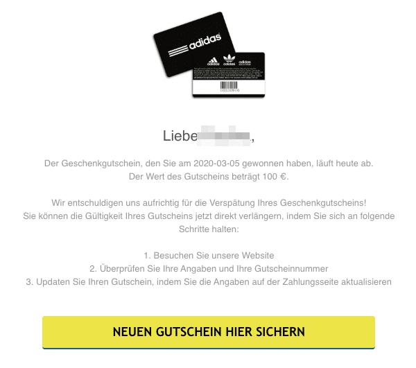 2020-03-06 Adidas E-mail Spam Fake Abofalle 100 Euro Gutschein