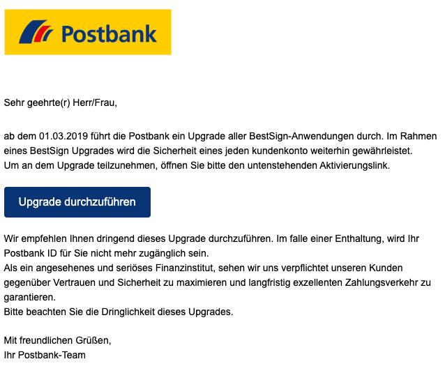 2020-03-06 Postbank Spam-Mail Bitte beachten Sie die Dringlichkeit dieses Upgrades