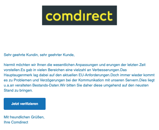 2020-04-28 Comdirect Spam Fake-Mail aktuelle Information