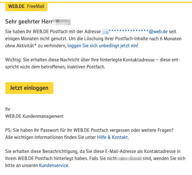 2020-07-31 web-de E-Mail Erinnerung WEB-DE Postfach-Inhalt wird in Kuerze geloescht