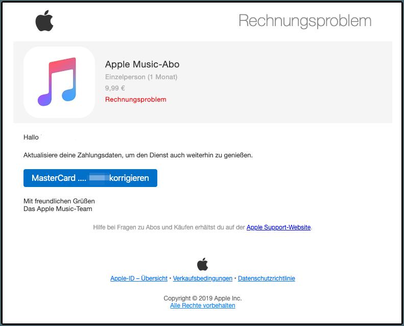 Apple E-Mail Rechnungsproblem Apple Music