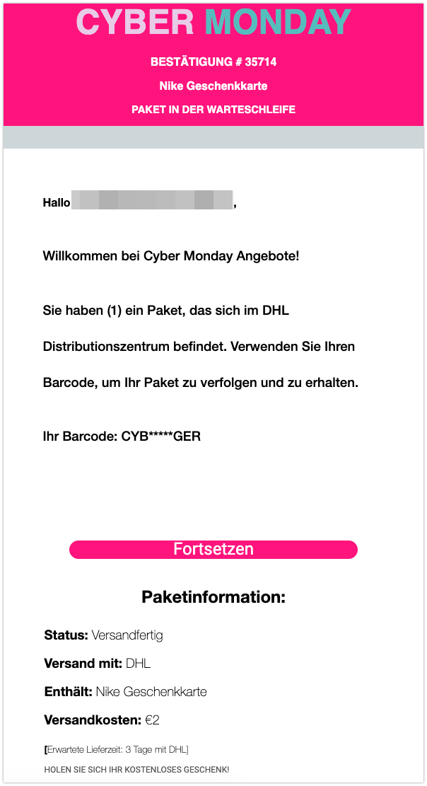 Nike Spam Mail DHL
