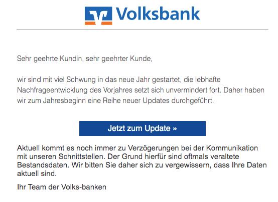 2020-01-05 Volksbank Spam-Mail Aktuelle Updates VVB-Community - Die neuen Updates sind da