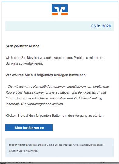 2020-01-05 Volksbank Spam-Mail Aktuelles Anliegen