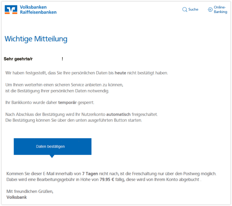2020-01-06 Volksbank Spam-Mail Wichtige Mitteilung von Ihrer Volksbank