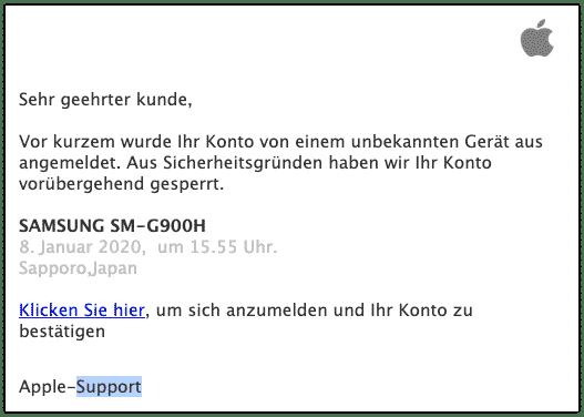 2020-01-09 Apple Spam-Mail Ungewoehnliche Login-Aktivitaet