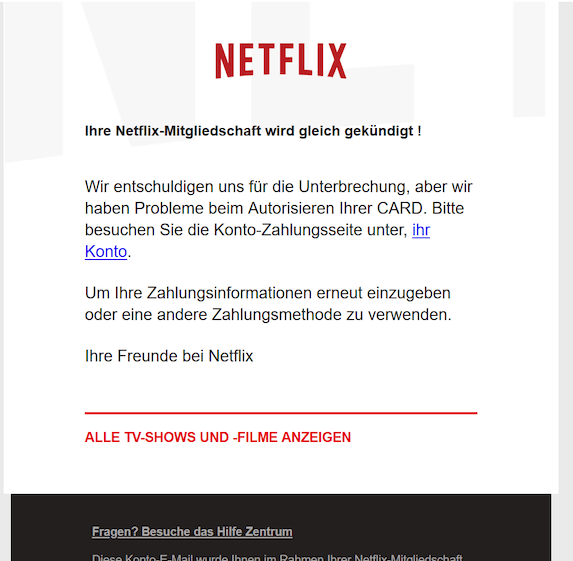 2020-01-09 Phishing Netflix