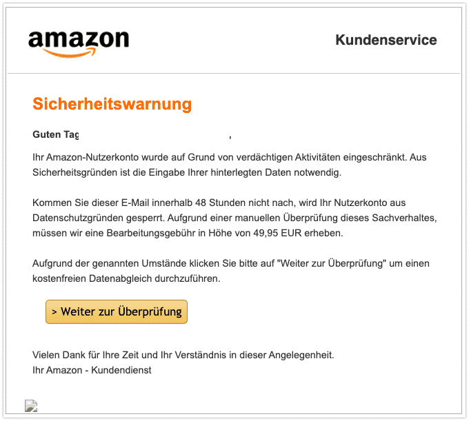 2020-01-10 Amazon Fake-Mail Ihr Konto