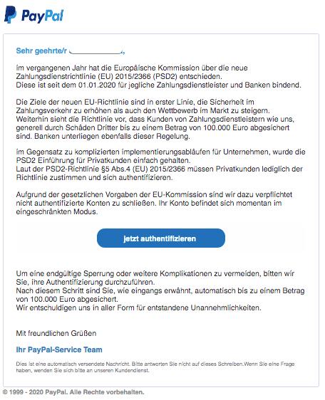 2020-01-11 PayPal Spam-Mail Handlungsbedarf- Neue PSD2 Richtlinie