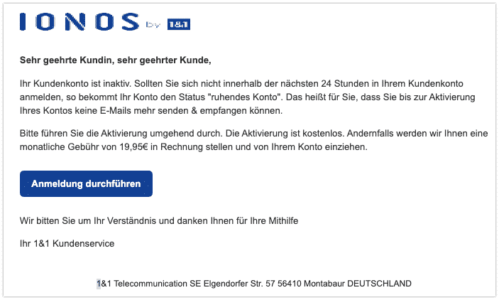2020-01-14 IONOS 1und1 Spam-Mail Inaktives Konto