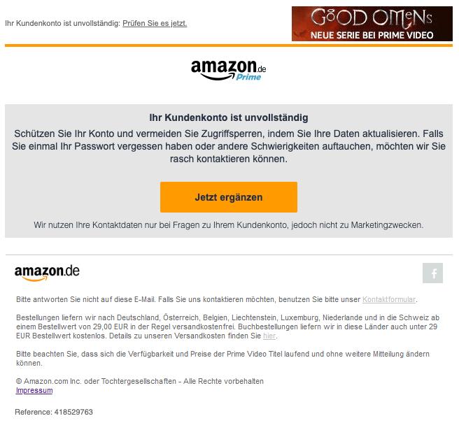 2020-01-16 Amazon E-Mail Spam Fake Maßnahme erforderlich
