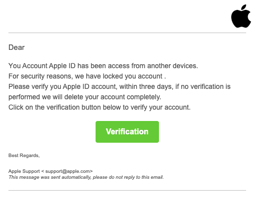 2020-01-16 Apple Spam-Mail Your account has been locked