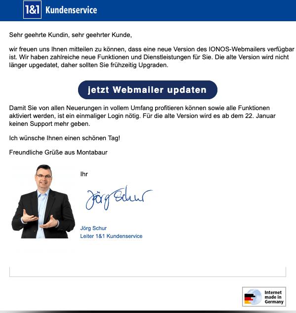 2020-01-20 IONOS 1und1 Spam E-Mail Ihr Webmailer Update