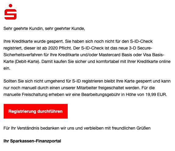 2020-01-21 Sparkasse Spam-Mail Registrierung für S-ID