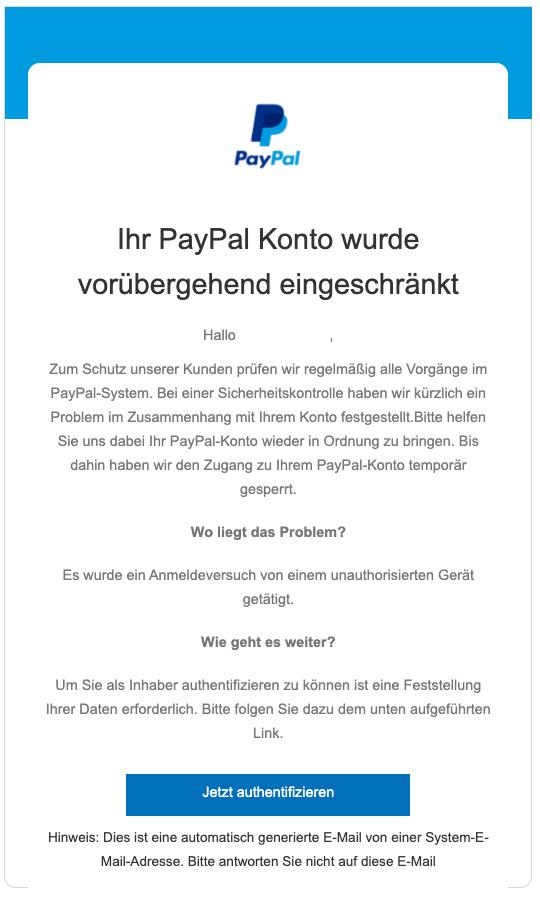 2020-01-22 PayPal Spam-Mail Phishing sofortiges Handeln notwendig