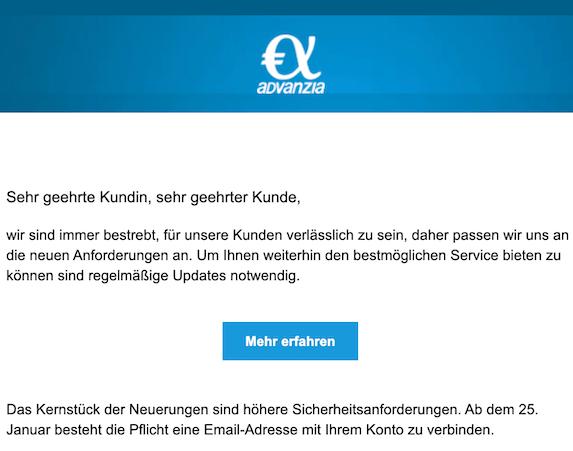 Phishing E-Mail Advanzia