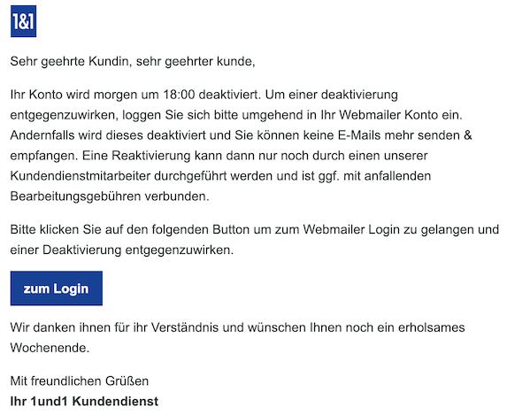 Phishing E-Mail im Namen von Kundendienst I0N0S