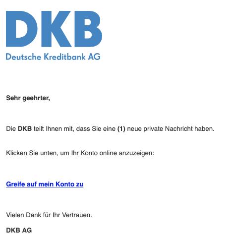 2020-01-27 DKB Deustche Kreditbank AG Spam-Mail Neue Nachricht