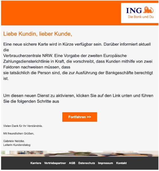 2020-01-28 ING Bank Spam Mail Die iTAN-Liste steht vor dem Aus